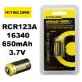 Батерия NITECORE NL166 16340 RCR123A Li-ion 3.7 V 650 mAh със за