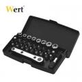 Комплект тресчотка с вложки и накрайници с 28 части WERT W 2239