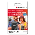 MicroSD карта AGFA PHOTO MicroSDHC 64GB HIGH SPEED  с адаптор за