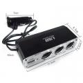 Зарядно за запалка на кола с USB и 3 изхода на 12V/24V