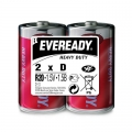 Карбон цинкова батерия Eveready Heavy Duty R20, D 1.5V 2 броя в