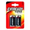 Усилена карбон цинкова батерии Eveready Super Heavy Duty R14, C
