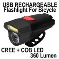 Фенер за колело 360 Lumen 10W COB + CREE акумулаторна батерия и