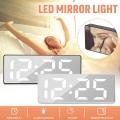 LED часовник GH0712L с бял цвят на цифрите осветление и огледале